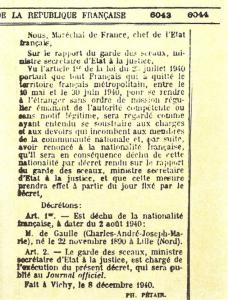 décret de déchéance de la nationalité française du Général De Gaulle